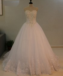 Strapless Sweetheart Beaded Tulle Floor Length Ball Gown Wedding Dress