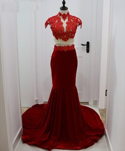 Burgundy Two-Piece Cap Sleeve High Neck Lace Bodice Mermaid Prom Dress