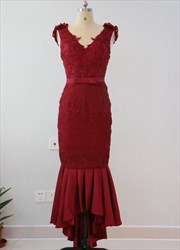 Burgundy Lace Beaded Bodice Drop Waist Prom Dress With Flower Strap