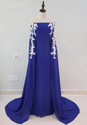 Royal Blue Off The Shoulder Lace Embellished Long Prom Dress With Cape