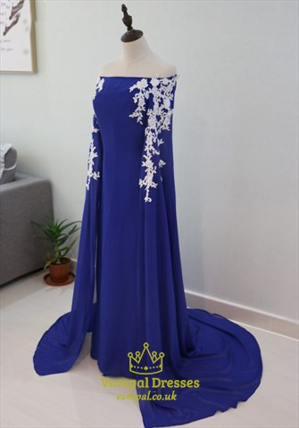 Royal Blue Off The Shoulder Lace Embellished Long Prom
