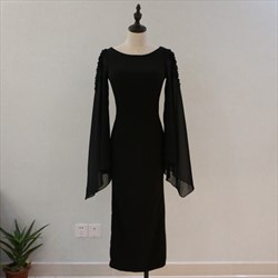 Black Tea Length Sheath Chiffon Prom Dress With Beaded Long Sleeves