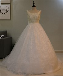 Sleeveless Beaded Bodice Lace Overlay A Line Wedding Dress With Bow