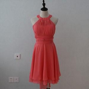 Coral A-Line Short Sleeveless Chiffon Bridesmaid Dress With Waistband