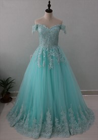 Light Blue Off The Shoulder Lace Embellished Tulle A-Line Ball Gown