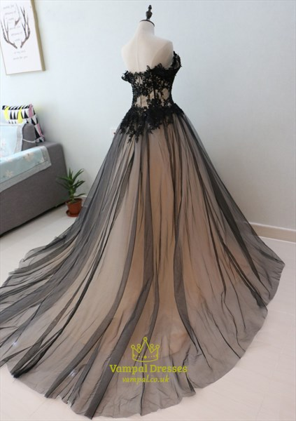 Black Off The Shoulder A-Line Tulle Overlay Ball Gown With Lace Bodice