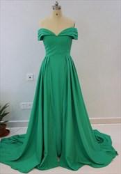 Simple Elegant Green A-Line Floor Length Off The Shoulder Formal Dress
