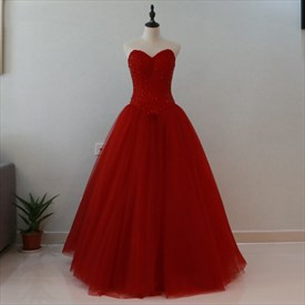 Burgundy Strapless Beaded Bodice Tulle Bottom Floor Length Ball Gown