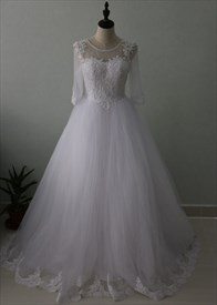 Illusion Half Sleeve A-Line Flor Length Tulle Wedding Dress With Lace