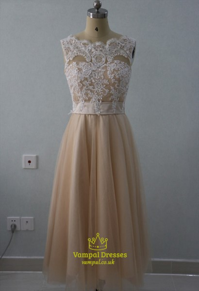 A-Line Tea Length Sleeveless Lace Bodice Empire Waist Bridesmaid Dress