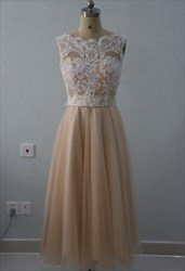 A-Line Tea Length Sleeveless Lace Bodice Empire Waist Bridesmaid Dress