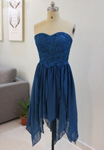 Short A-Line Royal Blue Strapless Lace Top Chiffon Bridesmaid Dress