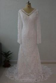 Elegant Long Sleeve V-Neck Lace Floor Length Mermaid Wedding Dress