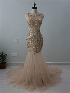 Illusion Sleeveless Jeweled Mermaid Tulle Prom Dress With Open Back