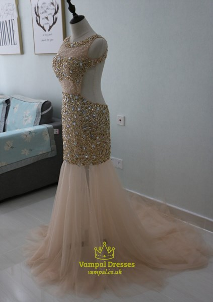 Illusion Sleeveless Jeweled Mermaid Tulle Prom Dress With Open Back