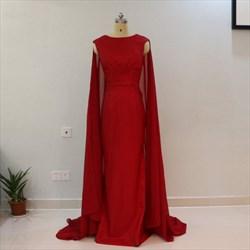Elegant Burgundy Cap Sleeve Floor Length Prom Dress With Cape Train