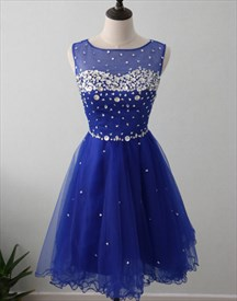 Royal Blue Knee Length Sleeveless Beaded Tulle A-Line Homecoming Dress
