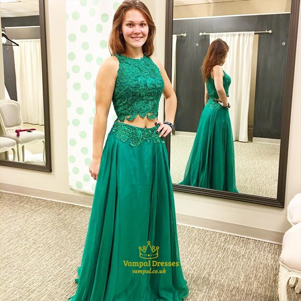 Emerald Green Sleeveless Two-Piece A-Line Prom Dress With Lace Bodice