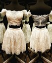 Lovely Short Two Piece Off The Shoulder A-Line Lace Homecoming Dress