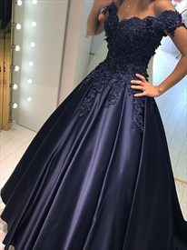 Navy Blue Off The Shoulder Applique Beaded A-Line Ball Gown Prom Dress