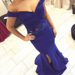 Royal Blue Off The Shoulder Lace Top Mermaid Evening Dress With Split