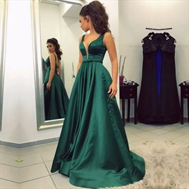Emerald Green Deep V Neck Backless Sleeveless A Line Long Prom Dress