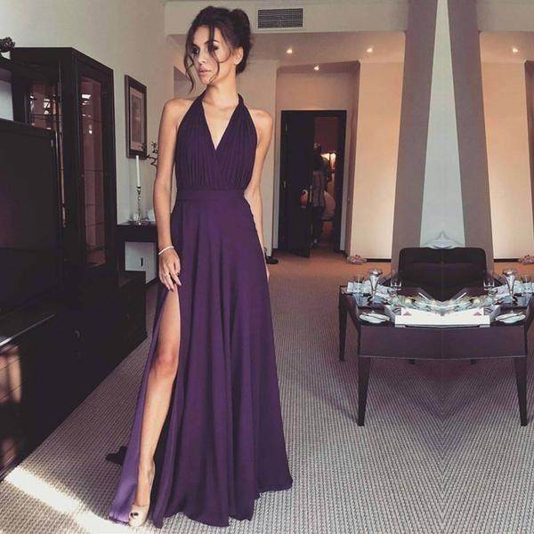 Simple Violet Halter V Neck A-Line Chiffon Maxi Dress With Side Split
