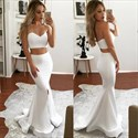 White Two-Piece Strapless Sweetheart Mermaid Long Prom Gown With Split
