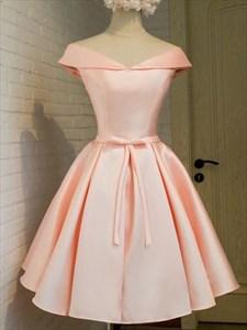 Lovely Simple Peach Knee Length A-Line V Neck Satin Homecoming Dress