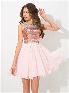 Illusion Blush Pink Sleeveless Short Sequin Bodice Homecoming Dress
