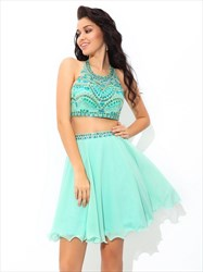 Mint Green Sleeveless Two Piece Short Homecoming Dress With Beaded Top