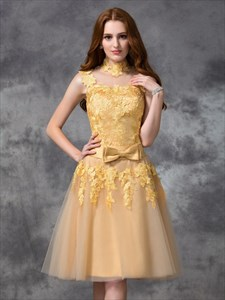 Illusion High-Neck Cap Sleeve Applique Knee Length A-Line Prom Dress