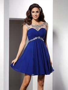 Royal Blue Cap Sleeve Jeweled Chiffon Short A-Line Homecoming Dress