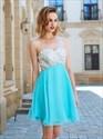 Aqua Blue One Shoulder A-Line Short Homecoming Dress With Beaded Top