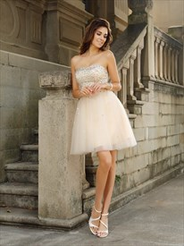 Lovely Strapless A-Line Short Beads Embellished Tulle Homecoming Dress