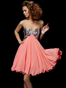 Coral Strapless Short Empire Waist Homecoming Dress With Sequin Top