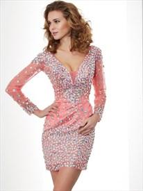 9a63cdac7e3 Illusion Deep V Neck Long Sleeve Beaded Tulle Bodycon Cocktail Dress