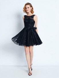 Elegant Black Lace Sleeveless V-Back Short A-Line Homecoming Dress