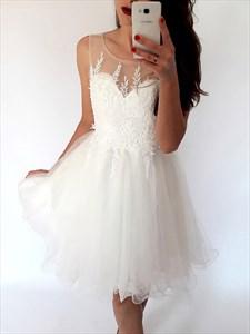 White Sheer Neckline Sleeveless Short Applique Tulle Homecoming Dress