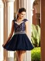 Navy Blue Illusion Cap Sleeve Lace Bodice A-Line Short Cocktail Dress