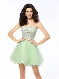 Lovely Light Green Strapless Sweetheart Short A-Line Homecoming Dress
