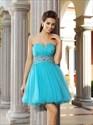 Aqua Blue Strapless Jewel Embellished Tulle Short Homecoming Dress