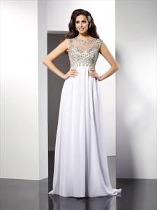White Elegant Cap Sleeve Beaded Bodice A-Line Floor Length Prom Dress
