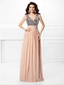 Sleeveless V Neck Sequin Bodice Empire Waist A-Line Long Prom Dress