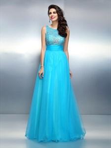 Aqua Blue Sleeveless Beaded Bodice A-Line Floor Length Evening Dress