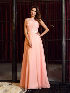 A-Line Sleeveless Lace Bodice Chiffon Long Prom Dress With Sheer Back