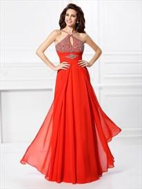 Elegant Red Spaghetti Strap Empire Waist Beaded Top Chiffon Prom Dress