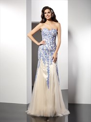 Floor Length Strapless Sweetheart Applique Embellished Tulle Prom Gown