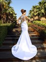 Illusion White Sleeveless Embroidered Bodice Mermaid Long Prom Dress