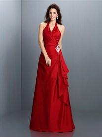 Elegant Burgundy Halter Neck Floor Length Evening Dress With Ruffles